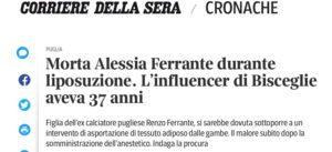 Morta durante una liposuzione la influencer Alessia Ferrante.